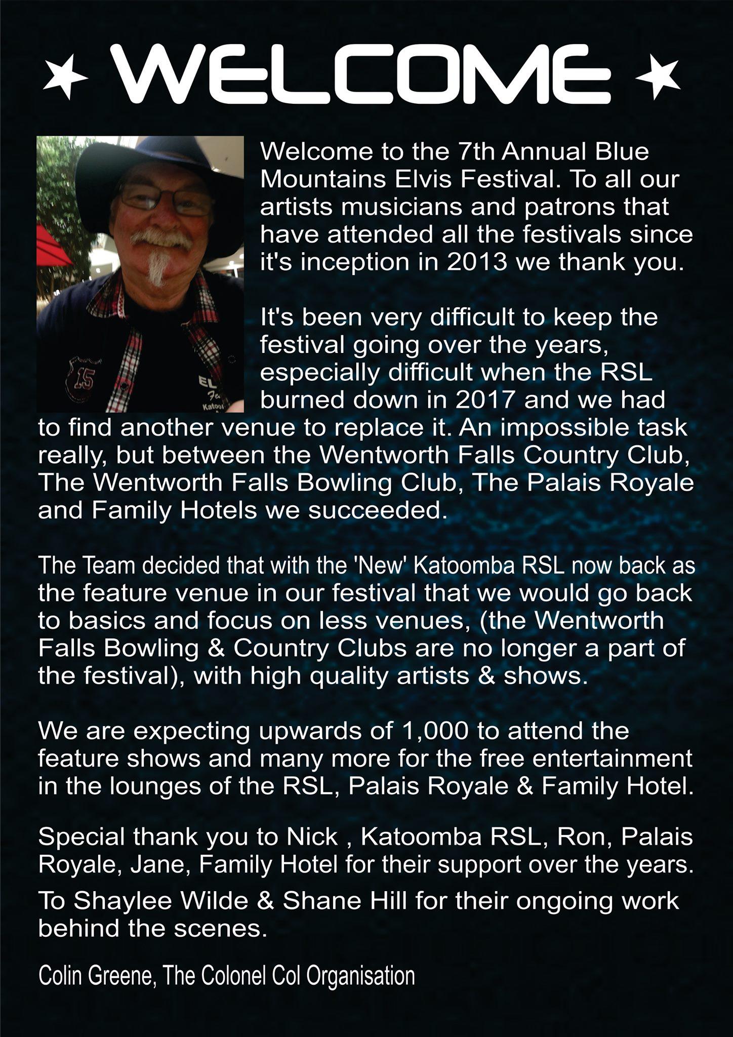 2019 Blue Mountains Elvis Festival Programme